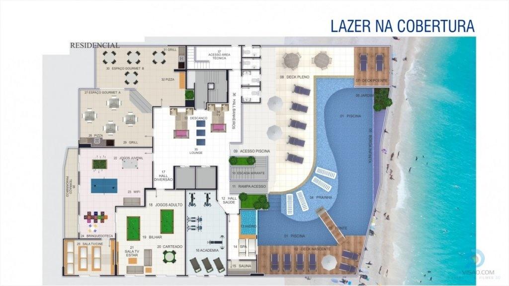 Área de Lazer na Cobertura do apartamento com 2 dormitórios em AVIAÇÃO - PRAIA GRANDE