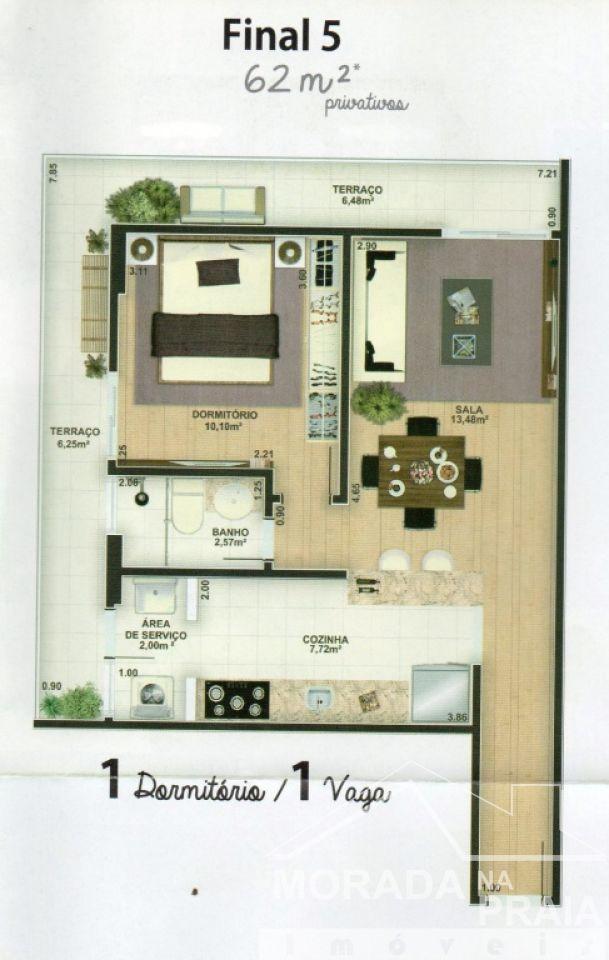 Planta do apartamento com 1 dormitórios em REAL - PRAIA GRANDE