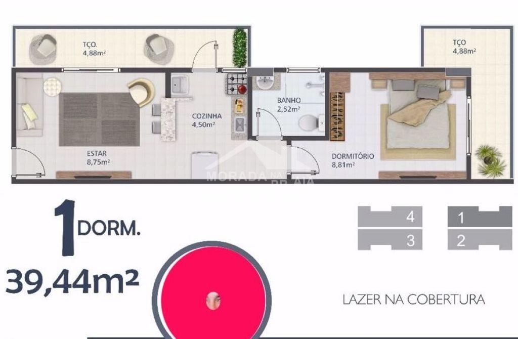 Planta do apartamento com 1 dormitórios em BOQUEIRÃO - PRAIA GRANDE