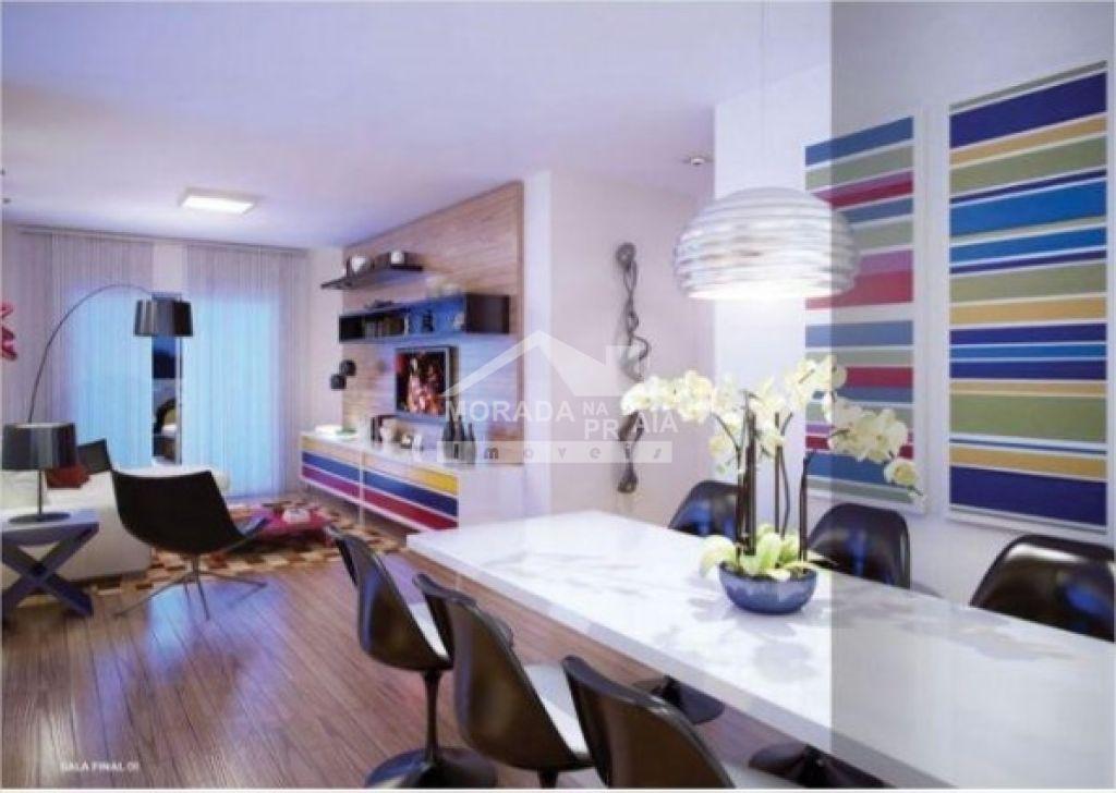 Sala de estar e jantar do apartamento com 2 dormitórios em Vila Tupi - Praia Grande