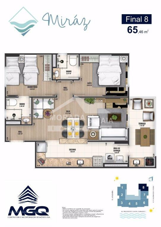 Planta Final 8 do apartamento com 2 dormitórios em CAIÇARA - PRAIA GRANDE