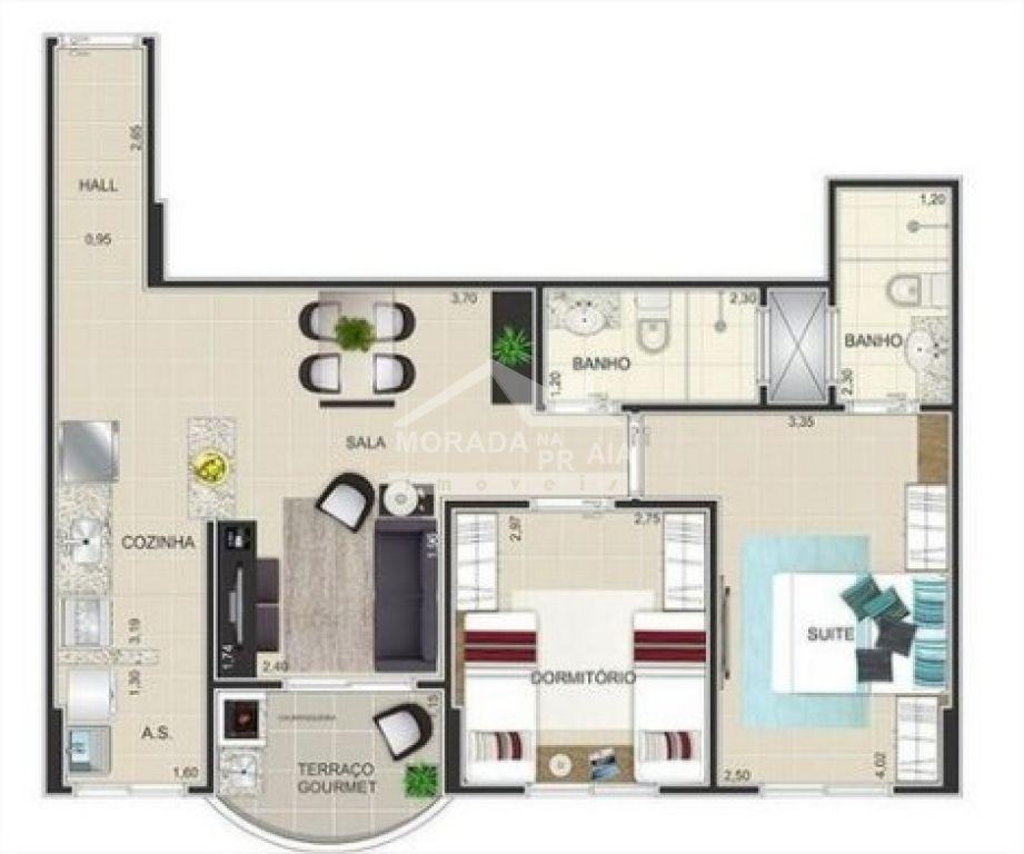 Planta do apartamento com 2 dormitórios em Cidade Ocian - Praia Grande