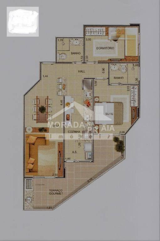 PLANTA FINAL 1 do apartamento com 2 dormitórios em Cidade Ocian - Praia Grande