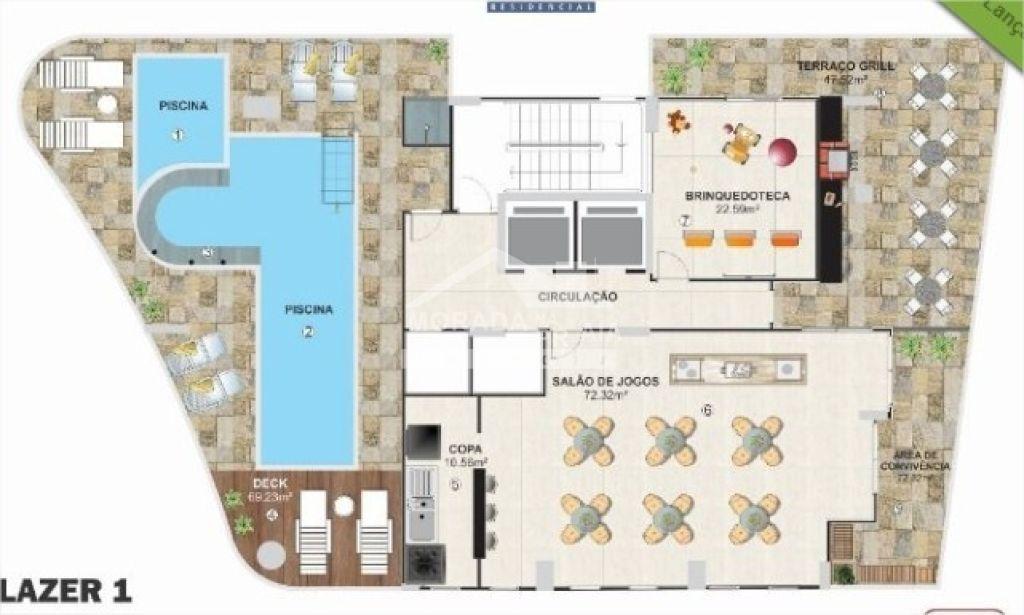 Planta da área de lazer do apartamento com 1 dormitórios em Campo da Aviação - Praia Grande