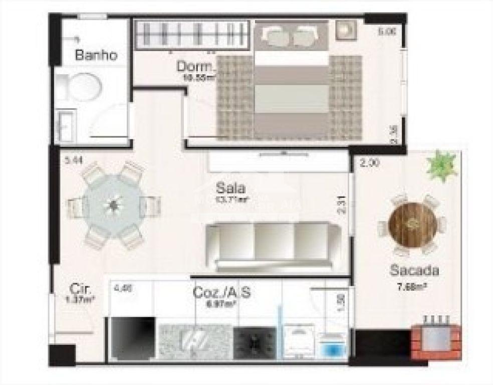 Planta do apartamento do apartamento com 1 dormitórios em Campo da Aviação - Praia Grande