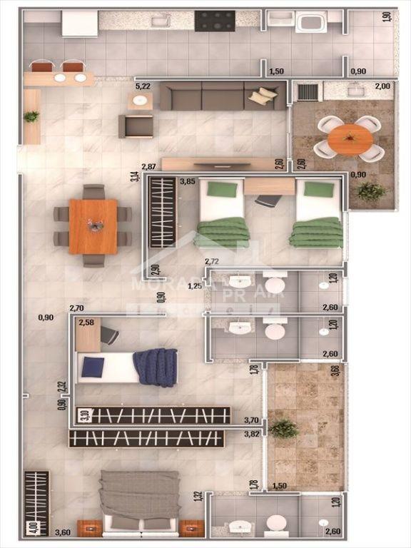 Planta do apartamento com 3 dormitórios em CAIÇARA - PRAIA GRANDE