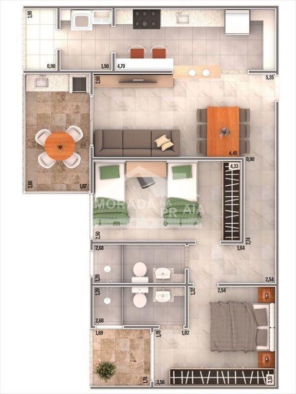 Planta do apartamento com 2 dormitórios em CAIÇARA - PRAIA GRANDE