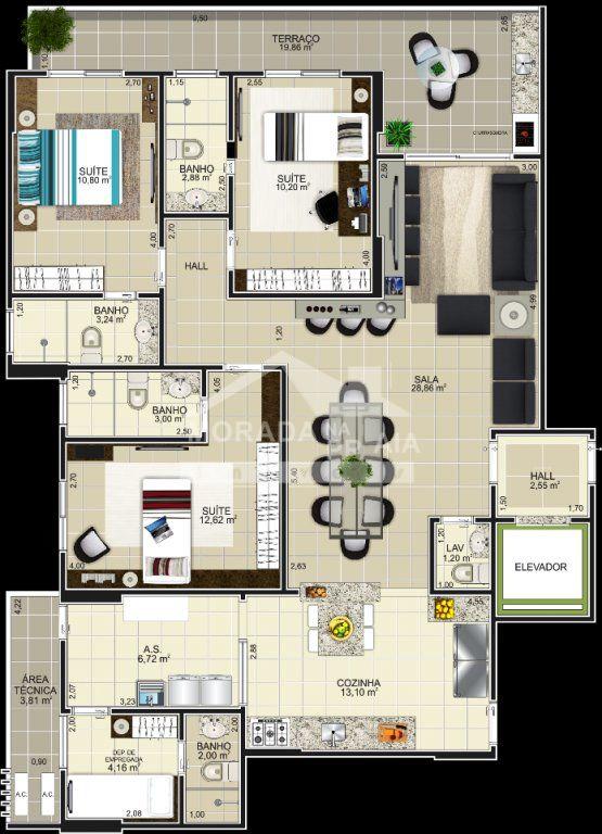 Planta Final 2 do apartamento com 3 dormitórios em GUILHERMINA - PRAIA GRANDE