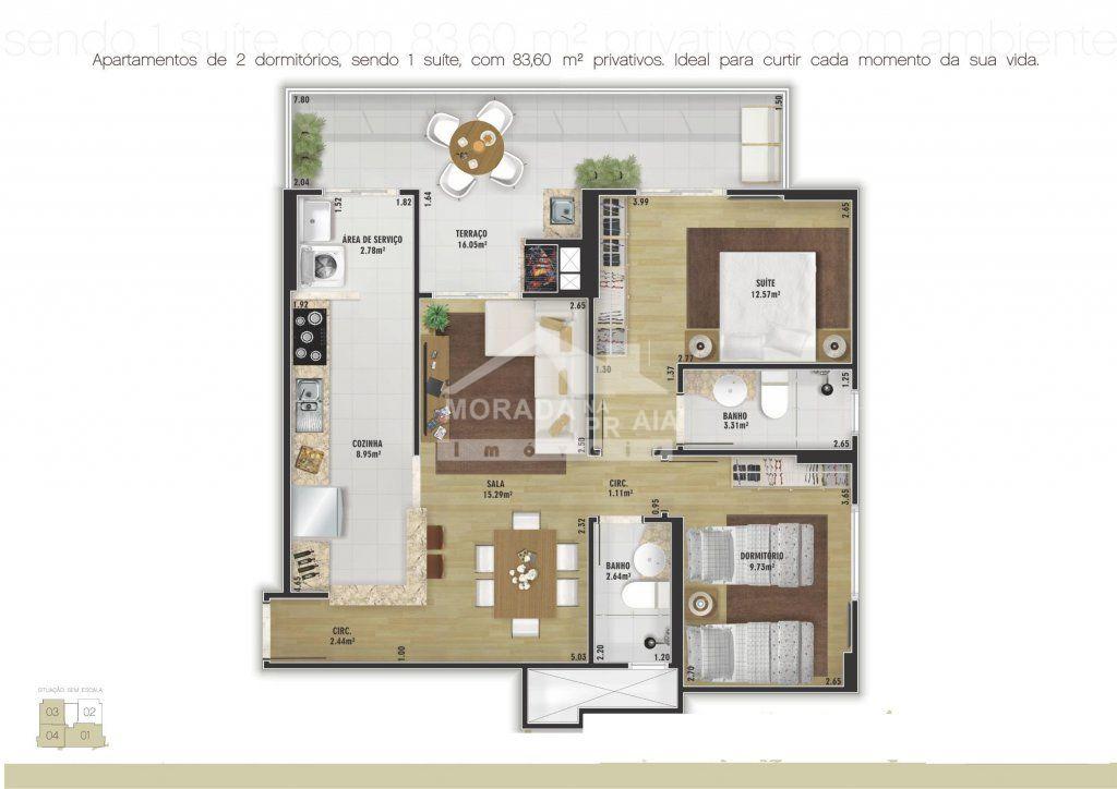Planta do apartamento com 2 dormitórios em Vila Tupi - Praia Grande