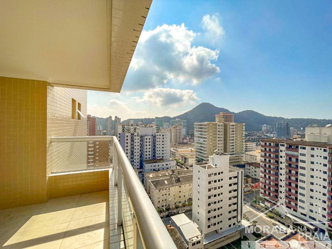 Sacada da sala e suíte 01 do apartamento com 3 dormitórios em CANTO DO FORTE - PRAIA GRANDE