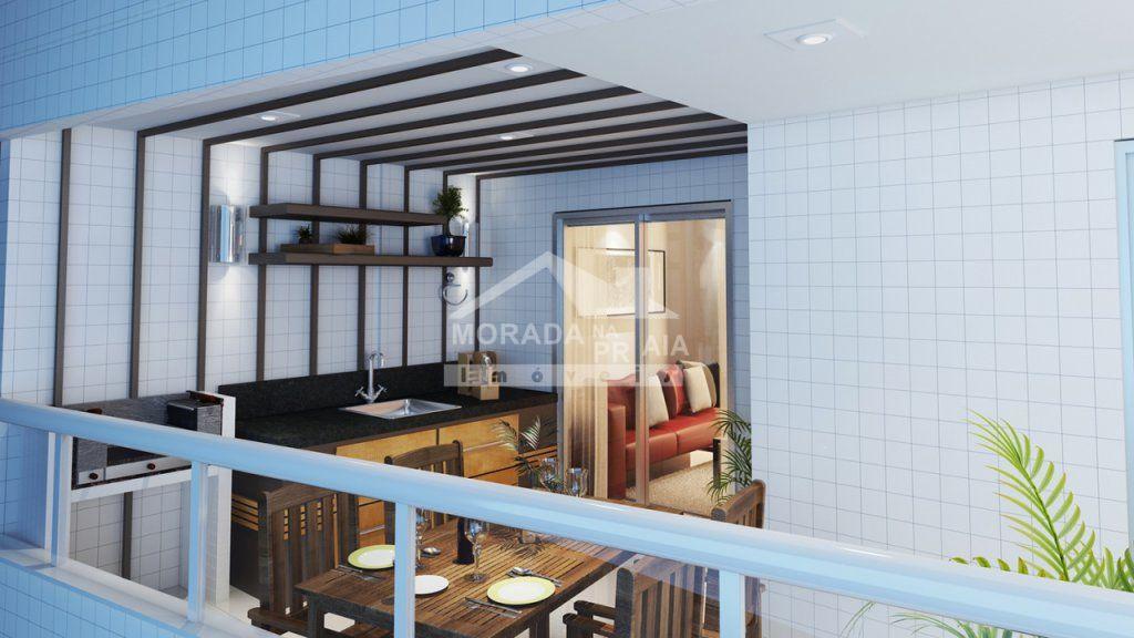 sacada gourmet do apartamento com 2 dormitórios em AVIAÇÃO - PRAIA GRANDE