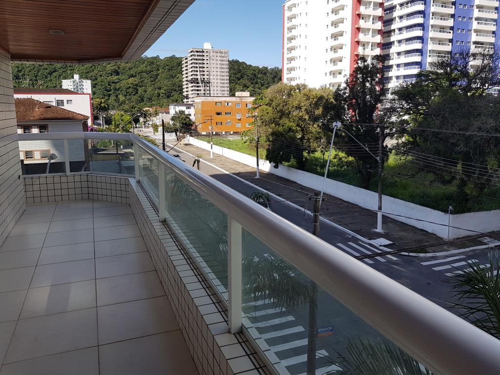 Vista da sala do apartamento com 3 dormitórios em Canto do Forte - Praia Grande