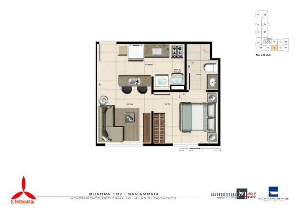 Cobertura de 1 dormitório em Samambaia Sul, Samambaia - DF